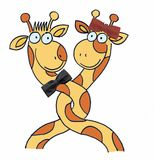 Two giraffes. On white background. illustration Royalty Free Stock Photography
