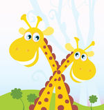 Two giraffes. Vector Illustration of funny african animals. See similar pictures in my portfolio Royalty Free Stock Photo