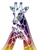 Two Giraffes as a pair of partners in love. stock illustration
