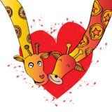 Two giraffes cartoon. Hand drawing illustration Royalty Free Stock Photo