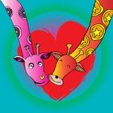 Two giraffes cartoon. Hand drawing illustration Royalty Free Stock Photos