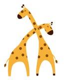 Two giraffes falling in love cartoon Stock Photo