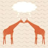 Two giraffes over stripy background Royalty Free Stock Photography