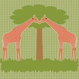 Two giraffes under tree vector Stock Photography
