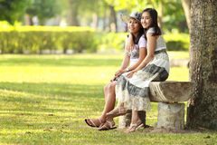 Two girl best friend relaxing Royalty Free Stock Photo