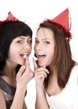 Two girl  on birthday eat chocolate cake. Stock Photo