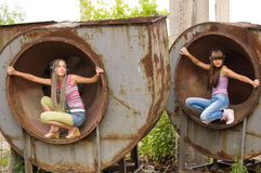Two girl in the circles 3 Stock Image