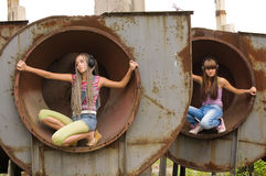 Two girl in the circles 4 Stock Photo