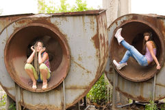 Two girl in the circles Royalty Free Stock Photo
