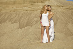 Two girl in desert Royalty Free Stock Image