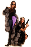 Two girl-friend in the fur coats Royalty Free Stock Photos