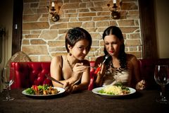 Two girl-friends. Two pretty glamour girl having a dinner Stock Image
