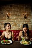 Two girl-friends. Two pretty girl-friends having a dinner Royalty Free Stock Photography
