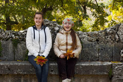 Two girl friends in autumn park Stock Image