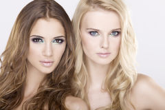 Two  girl friends - blond and brunette Stock Photos