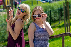 Two girl friends having fun Royalty Free Stock Photos