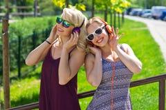 Two girl friends having fun stock image