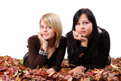 Two Girl Friends Lying In Autumn Leaves Stock Image