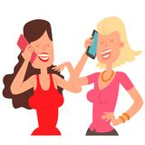 Two girl friends character talking his cell phone vector illustration. Two girl friends people with phone and female executive success character with smartphone Royalty Free Stock Image