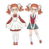 Two girl friends schoolgirls Royalty Free Stock Photography