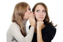 Two girl-friends tell gossips on an ear Stock Photos