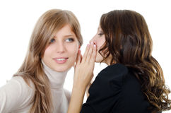 Two girl-friends tell gossips on an ear isolated. Two girl-friends tell gossips on an ear on white royalty free stock images