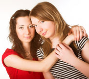 Two girl friends together smiling Royalty Free Stock Image