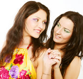 Two girl friends together smiling Stock Photo