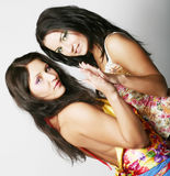 Two girl friends together smiling Stock Image