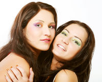Two girl friends together smiling Stock Images