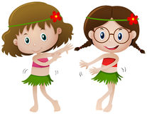Two girl in hawaii costume dancing. Illustration royalty free illustration