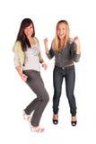 Two girl jumping, dancing stock image