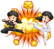 Two girl in kungfu outfit fighting. Illustration Royalty Free Stock Photo