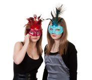 Two girl in the masquerade mask Royalty Free Stock Photos