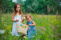 Two girl on the meadow Royalty Free Stock Photography
