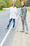 Two Girl On Road Stock Image