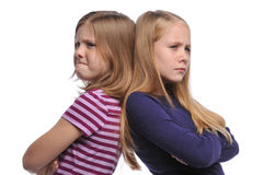 Two girl resolving a conflict royalty free stock images