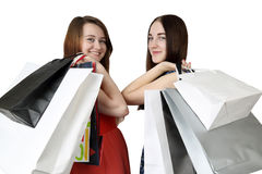 Two girl shopping Royalty Free Stock Image