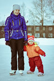 Two girl in the skate. Tow girl in the skate on the ice stock images