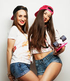 Two girl skaters Stock Images