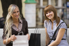 Two girl smiling Stock Photography