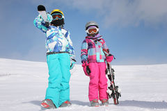 Two girl on the snow Royalty Free Stock Images