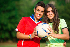 Two girl soccer players Stock Photography