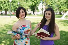 Two girl student reading Royalty Free Stock Photo