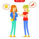 Two girl talking about fashion or shopping. Girlfriend meeting and talking friendly, The familiarity of their greeting, Two character girl teen with chat box stock illustration