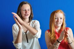 Complicity between two teens. The Complicity between two teens stock photography