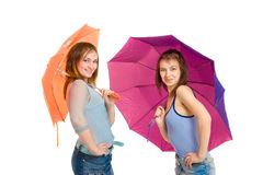 Two girl with umbrella Royalty Free Stock Photography