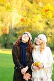 Two girl under the maple tree Royalty Free Stock Photography
