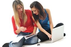 Two girl work on laptop Royalty Free Stock Photo