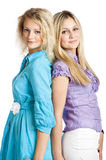 Two girlfriends. Two young girlfriends isolated on white background Royalty Free Stock Image